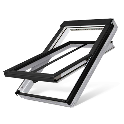 Fakro FTW-V/C P5 Triple Glazed Conservation White Acrylic Centre Pivot Pitched Roof Window