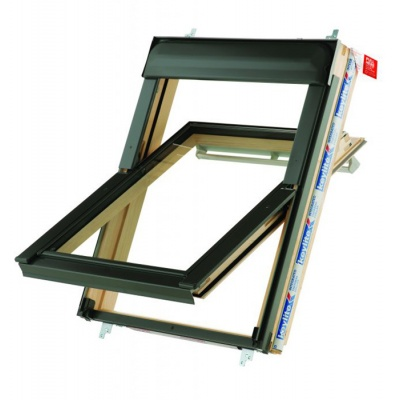 Keylite Hi-Therm Double Glazed Premium Electric Kit Pine Centre Pivot Pitched Roof Window