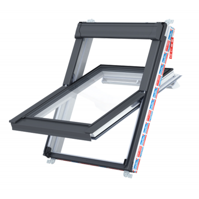 Keylite Hi-Therm Double Glazed Solar Premium Electric Kit with Remote Control White PVC Centre Pivot Pitched Roof Window
