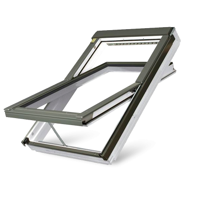 Fakro FTW-V P2 Z-Wave Electric Double Glazed White Acrylic Centre Pivot Pitched Roof Window